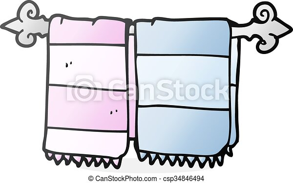 Freehand, badezimmer, karikatur, handtücher, gezeichnet EPS Vektoren ...