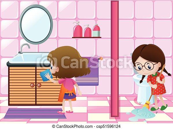 clipart kinder badezimmer putzen wohndesign. Black Bedroom Furniture Sets. Home Design Ideas