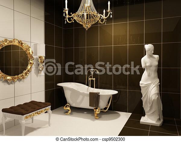 Badezimmer, luxuriös, statue, barock, venus, möbel.