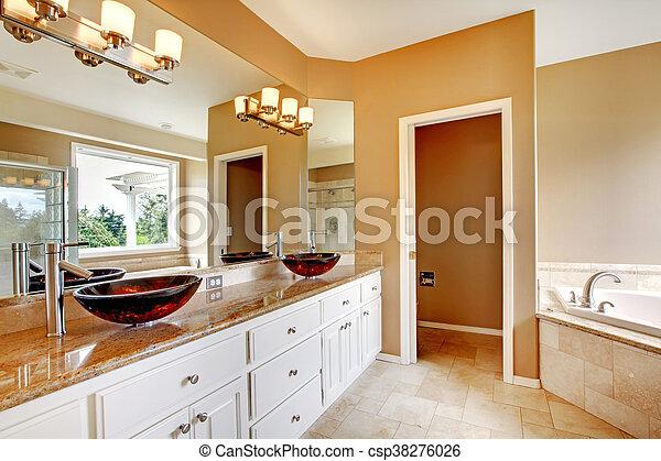 Badezimmer, Meister, Luxus, Theken, Home., Marmor, Nett Stockfoto