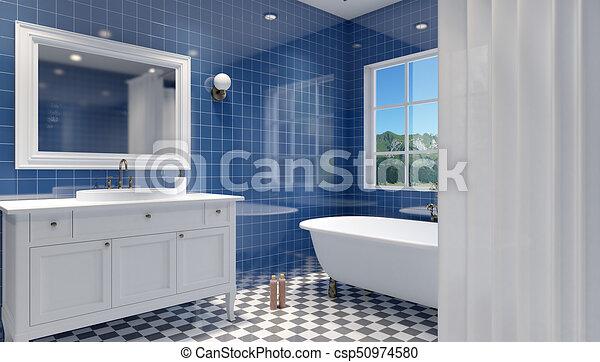 Badezimmer, modern, übertragung, interior., klein, 3d.