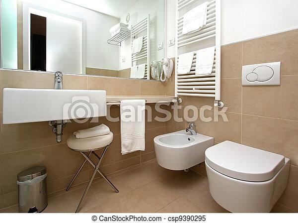 Badezimmer, modern, beige. Badezimmer, modern, keramisch ...