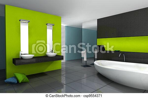 Badezimmer, modern, design. Badezimmer, gefärbt, modern, rendering ...