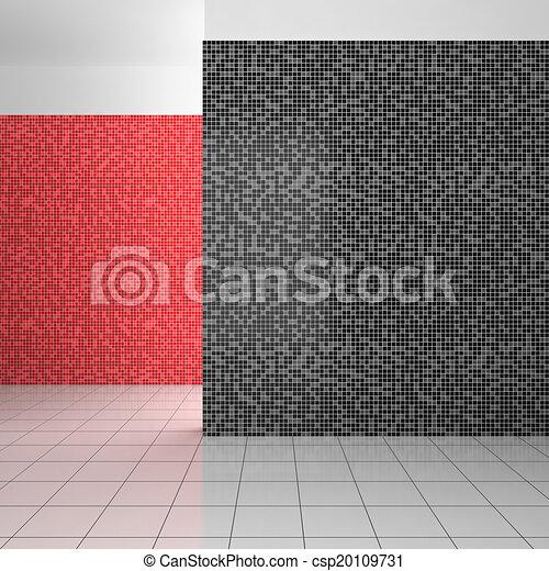 badezimmer, modern, fliesenmuster, leerer , schwarz, weiß rot