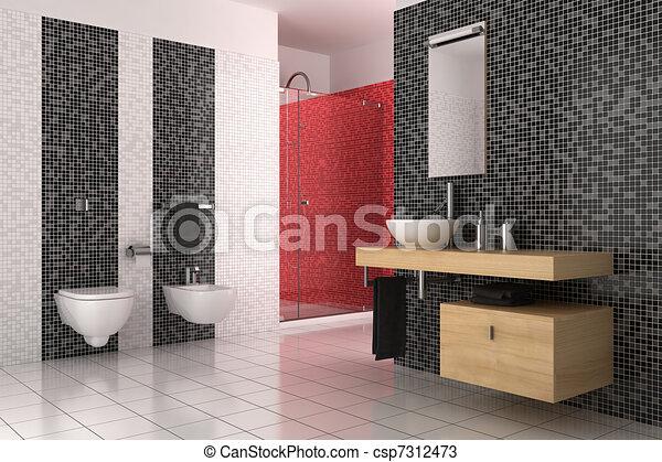 Modernes badezimmer mit schwarzen, roten und weißen fliesen.