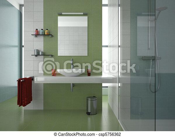 Badezimmer, modern, grün. Blaues, badezimmer, grün, zeitgenössisch ...