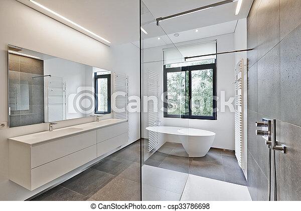 Badezimmer Modern Luxus Hahn Gegen Kleingarten Windows