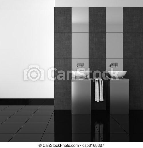 Badezimmer, modern, schwarz, boden. Badezimmerboden,... Stock ...