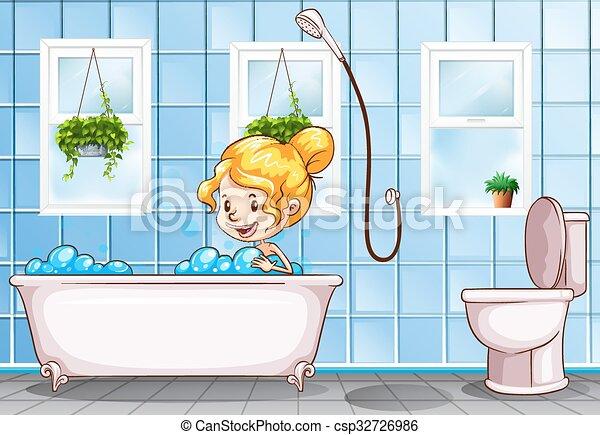 Badezimmer, nehmen, m�dchen, bad. M�dchen, badezimmer,... Vektor ...