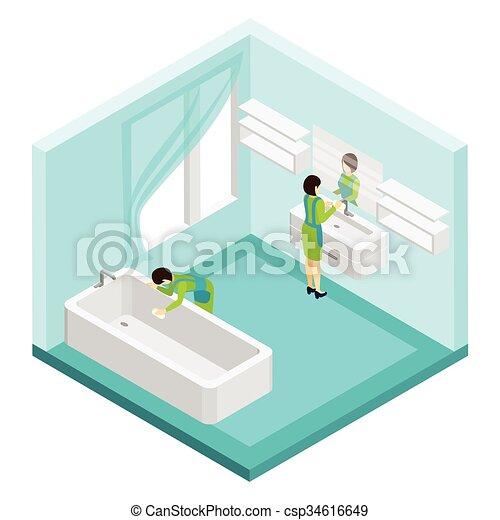 badezimmer, putzen, abbildung, leute