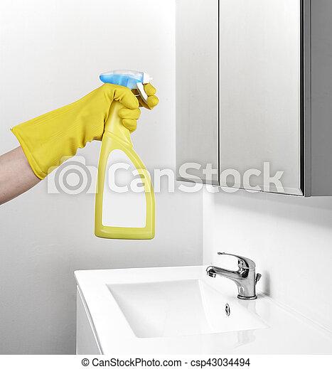 Inneneinrichtung, badezimmer, putzen, spiegel.