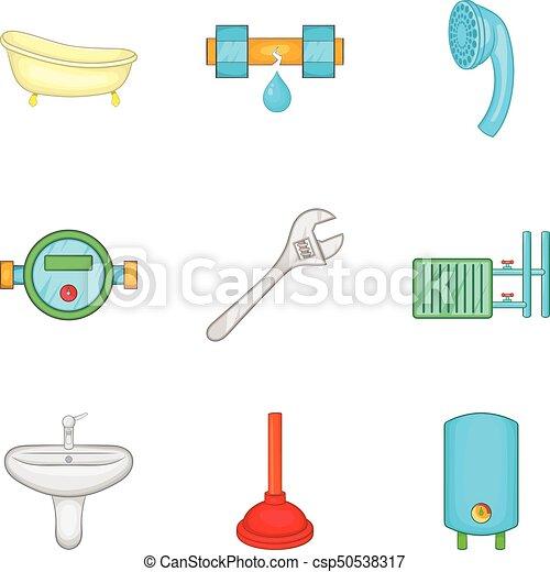 badezimmer, satz, stil, putzen, karikatur, ikone
