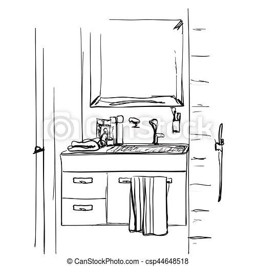 Waschbecken clipart  Vektor Clipart von badezimmer, sketch., waschbecken, hand ...