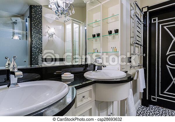 Badezimmer, stil, barock, luxus. Badezimmer, wohnung, barocker stil ...