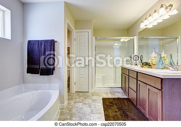 Badezimmer, tür, erfrischen, bad, glas, weißes, wanne. Badezimmer ...
