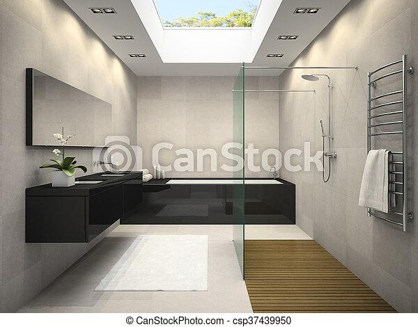 badezimmerdecken, übertragung, fenster, inneneinrichtung, 3d - csp37439950