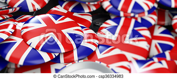 badge button United Kingdom flag 3d Illustrations background - csp36334983
