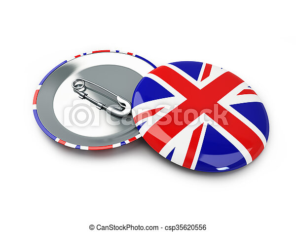 badge button United Kingdom flag 3d Illustrations background - csp35620556