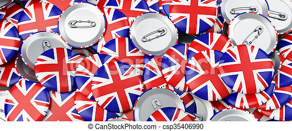 badge button United Kingdom flag 3d Illustrations background - csp35406990