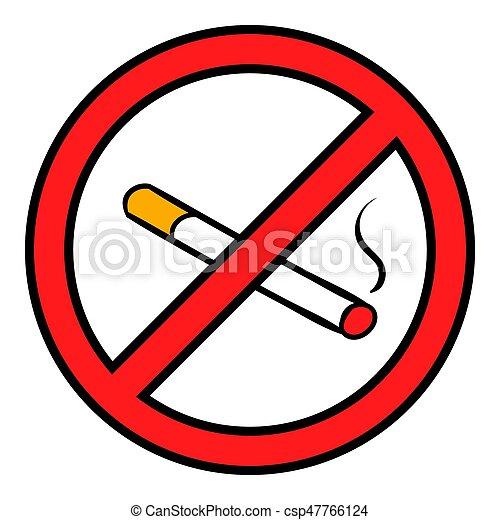 Badge No Smoking Icon Cartoon Badge No Smoking Icon In Cartoon Style Isolated Illustration