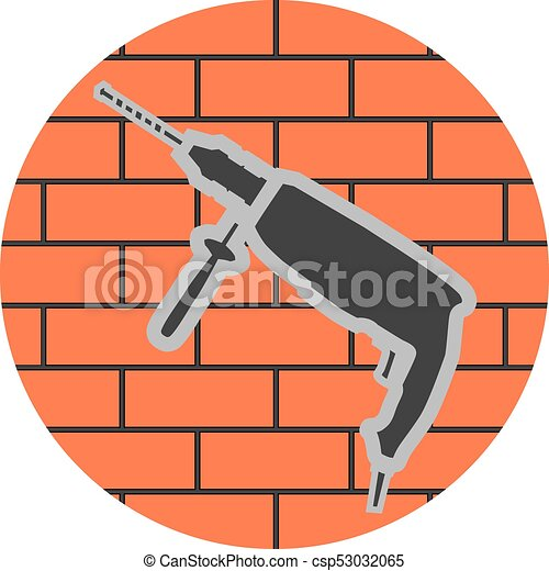 badge of a jackhammer on a brick wall icon construction work symbol rh canstockphoto ca broken brick wall clipart brick wall clipart black and white