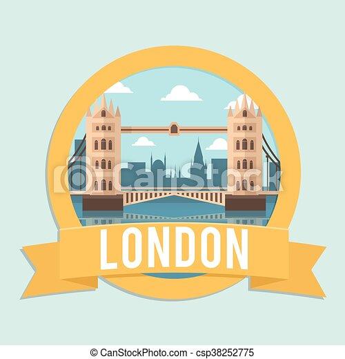 badge ribbon london bridge - csp38252775
