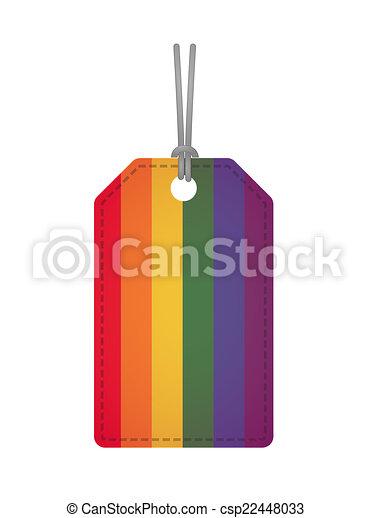 Badge with a gay pride flag - csp22448033