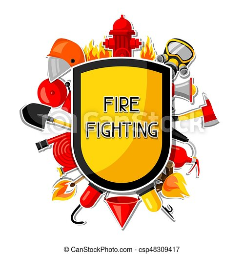 badge with firefighting sticker items fire protection vector rh canstockphoto com fire safety clipart free fire safety clipart black and white
