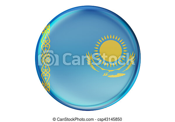 Badge with flag of Kazakhstan, 3D rendering - csp43145850
