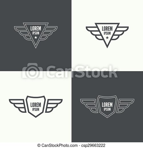 Badge With Wings Badge And Shield With Wings Symbol Of Vector