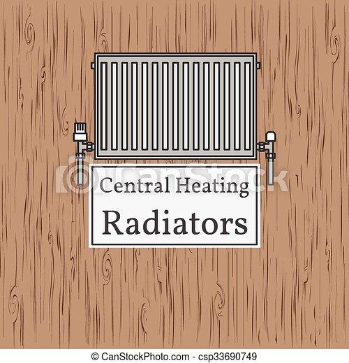Badge., zentralheizung, radiator., heizkörper, vector. EPS Vektor ...