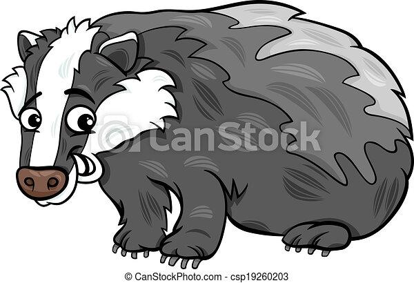 badger animal cartoon illustration - csp19260203