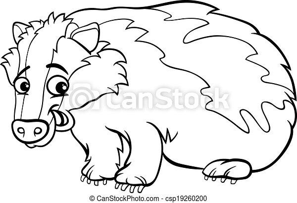 Badger Cartoon Coloring Page   Csp19260200