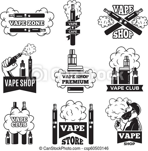 Badges and labels with illustrations of vapor from electric cigarette   Pictures for vaping club or shop