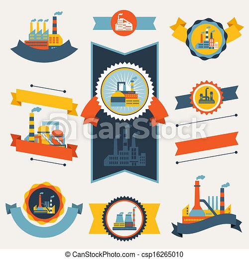 badges., bâtiments, industriel, usine, bannières, rubans - csp16265010