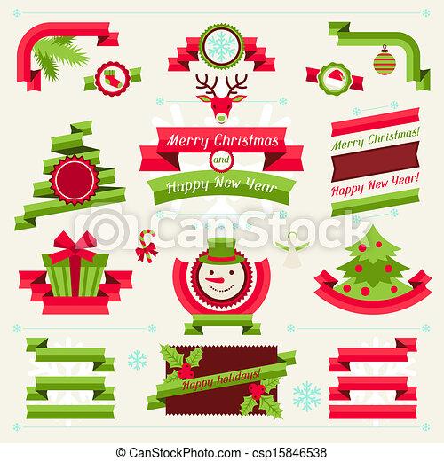 Badges banderas cintas navidad alegre