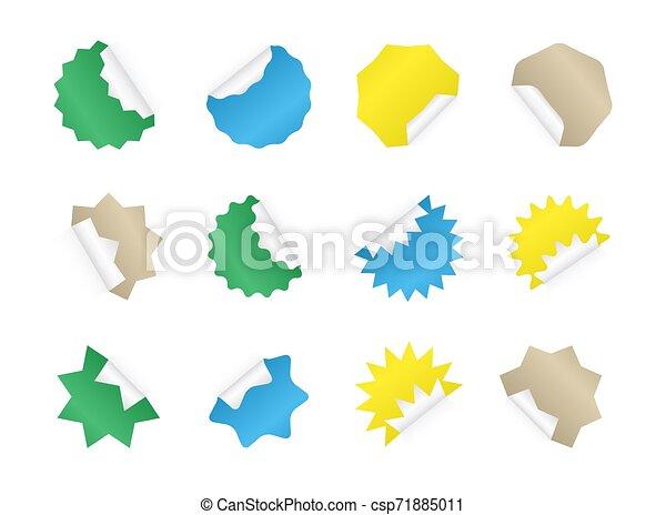 badges., coloré, autocollant, starburst, vide, sunburst, set. - csp71885011