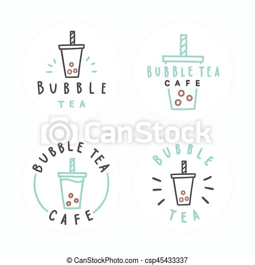 Un juego de insignias de té de burbujas. - csp45433337