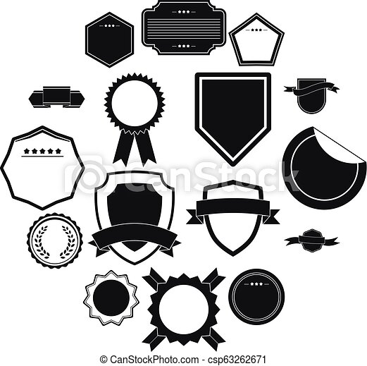 Badges icons set, simple style - csp63262671