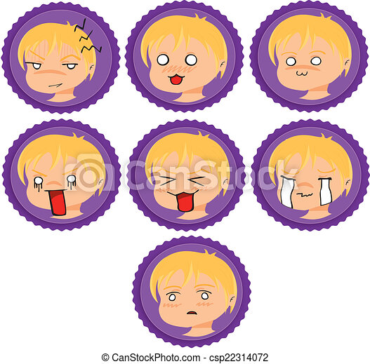 badges with manga faces 2 - csp22314072