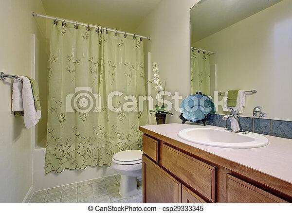 Badkamer, classieke, floor., douche, groene, tegel, gordijn ...