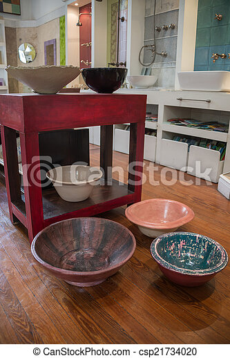 badkamer communie kommen artistiek interieur furnitur ontwerp rood