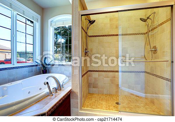 Badkamer deur moderne douche glas kuip whirlpool badkamer