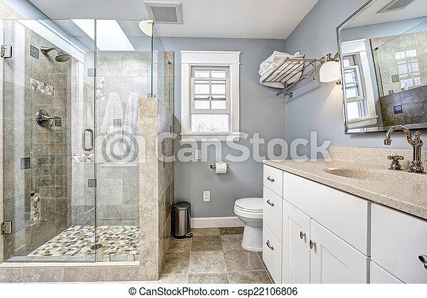 Badkamer, deur, moderne, douche, glas, interieur. Blauwe ...