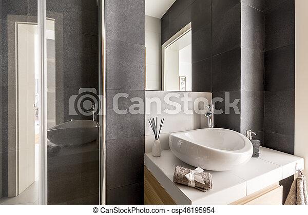 Wasbak Badkamer Grijze : Badkamer grijze spiegel wasbak badkamer witte grijze