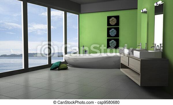 Badkamer groene lakeview badkamer moderne rendering for Badkamer plannen in 3d