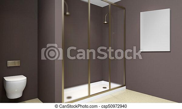 Badkamer moderne deur glas shower vertolking interieur d