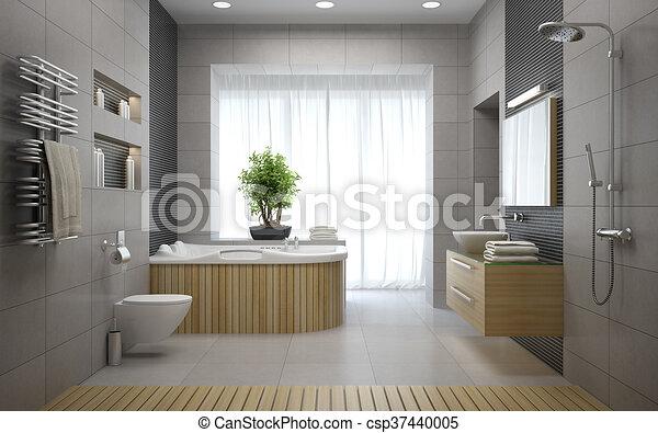 Badkamer, moderne, vertolking, ontwerp, interieur, 3d.