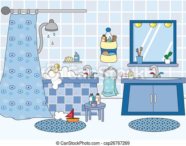 Badkamer, ligbad, zinken, illustratie stock illustratie - Zoek naar ...