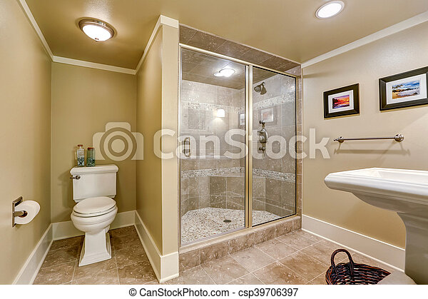 badkamer, walk-in, douche, elegant, beige, interieur
